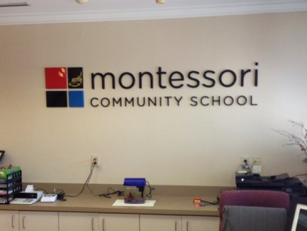 Montessori of Newtown lobby dimensional letters